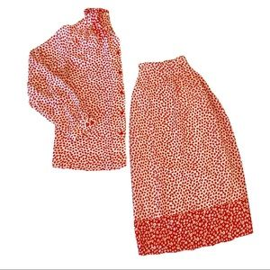 Vintage blouse and skirt set red and white print